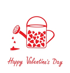 Love watering can with hearts valentines day card vector
