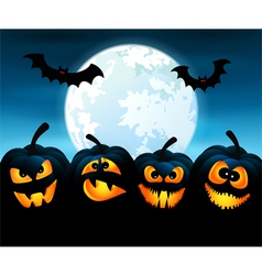 Halloween night with pumpkins vector