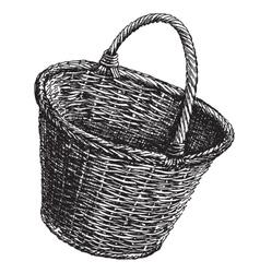 Wicker basket logo design template vector