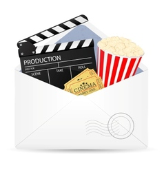 Open envelope with movie clapper board vector