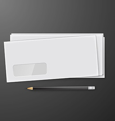Two white envelopes with pencil vector