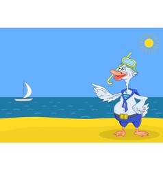 Goose diver on a beach vector