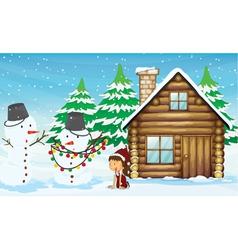 Snowman girl and house vector