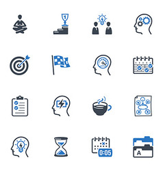 Productive at work icons - blue series vector