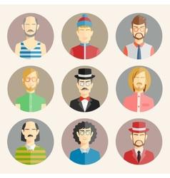 Set of nine male avatars vector