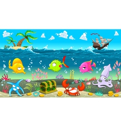 Funny scene under the sea vector