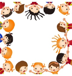 Fun kids frame many of children hold blank vector