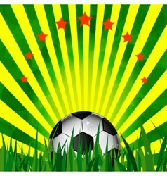 Football card in brazil flag colors soccer ball vector