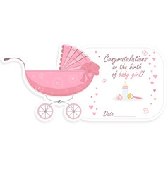 Stroller for baby girl vector