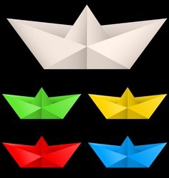 Paper ships isolated on black background for vector