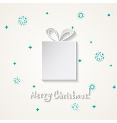 Christmas card with a snow and a gift box vector