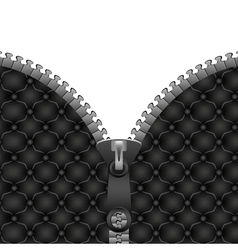 Zipper on the leather jacket vector