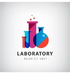 Laboratory chemical medical test logo vector