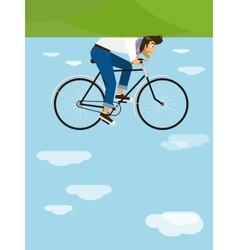 Hipster rides a bicycle in the sky vector