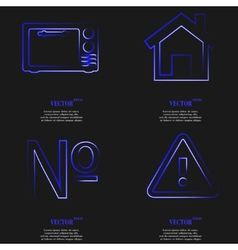 Set of blue web icon flat design simple sticker vector