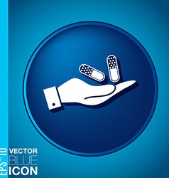 Hand holding a pill tablet symbol of medicine and vector