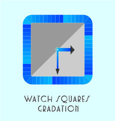 Watch squares gradation blue vector