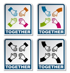 Together aiming hands sticker vector