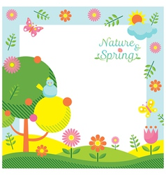 Spring season icons frame vector