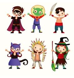 An of kids in halloween costumes vector