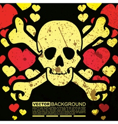 Abstract skull and hearts - grunge background vector