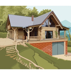 House log modern vector