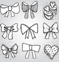 Set of bows hearts cupcakes sketch contour pen vector