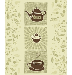 Tea and cookie vector