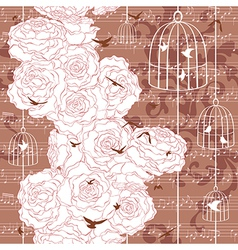 Seamless pattern with roses and flying birds vector