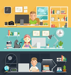Business people working on an office desk vector