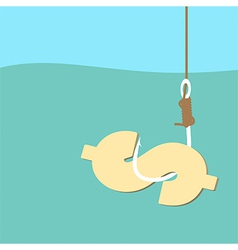 Fish hook with dollar bait vector