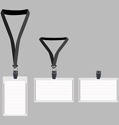 Three white lanyard with grey holder vector