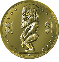 Money gold coin cook islands dollar vector