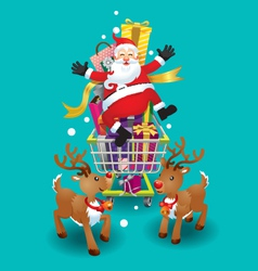 Santa claus and reindeer christmas day vector
