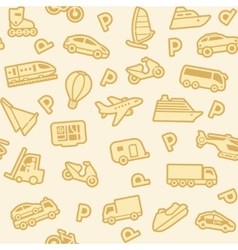 Seamless gold transport icons vector