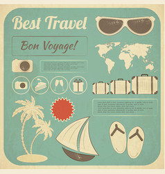 Summer travel card in retro style vector