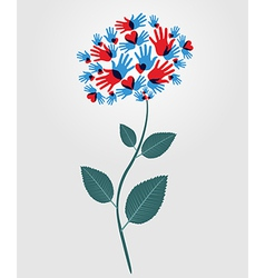 Diversity hands flower vector