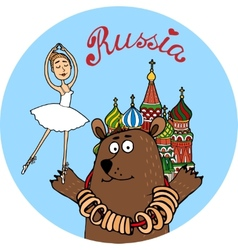 Russia tourism badge vector