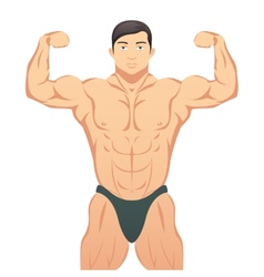Bodybuilder showing muscles vector