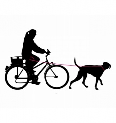 Woman on bicycle with dog vector