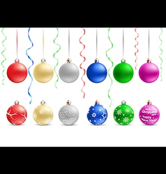 Multicolored christmas baubles vector