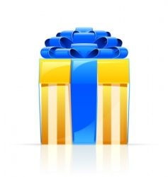 Gift box with blue bow vector