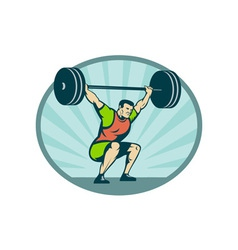 Weightlifter lifting heavy weights vector