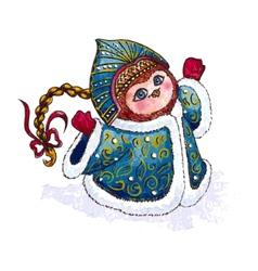 Owl snow-maiden in coat character watercolor vector
