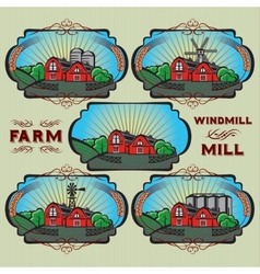 Set of farm mill windmill rural landscape vector