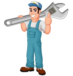 Friendly mechanic with toolbox giving thumbs up vector