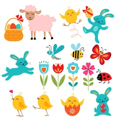 Easter elements vector