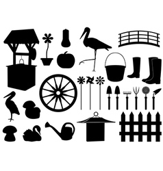 Garden decorations and tools vector