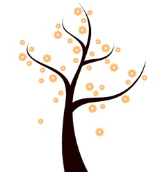 Spring tree with orange flowers isolated on white vector