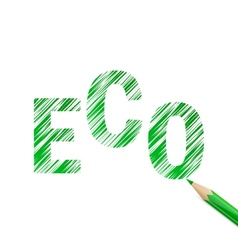 Eco text drawn with green pencil vector